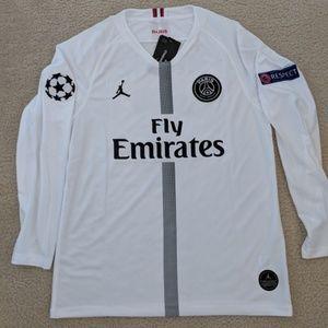 best website e4a96 4759b Mbappe #7 PSG Jordan Long Sleeve Soccer Jersey NWT